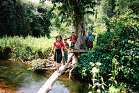 Young Akha girls crossing the river